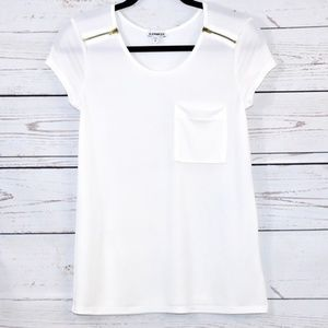 Express White Tee w/ Gold Zippers   Size XS